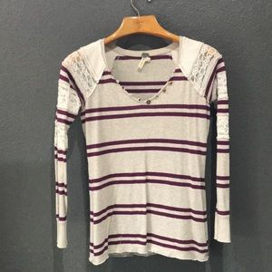 {We The Free} Lace & Rugby Striped Top
